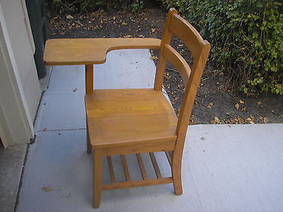 Vintage Student Solid Oak Wood School Desk & Attached Chair ~ Right Arm