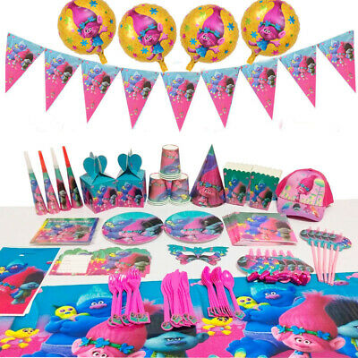 Trolls Theme Girls Birthday Party Kids Tableware Favor Supplies Decor Plate Gift