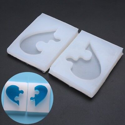 DIY Jewelry Beading Casting Mold Silicone Resin Crystal Mold Square Heart 1 Pair