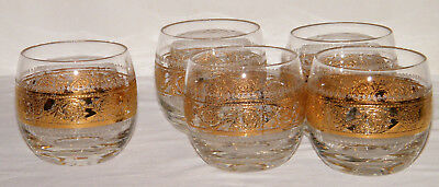 """Very Rare Vintage Set (5) """"TYROL"""" By CULVER ~ROLY-POLY~ Glasses/Barware 22K GOLD"""