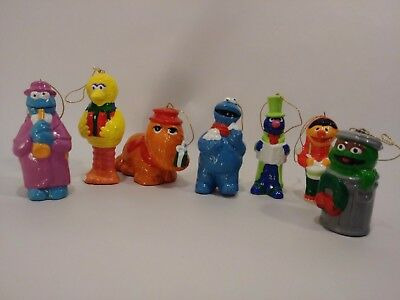 7 Vintage Sesame Street Christmas Ornament Set Muppets Big Bird Oscar Holiday