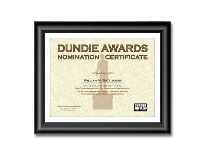 Dundie Award Nomination Certificates Personalized The Office 11 x 14