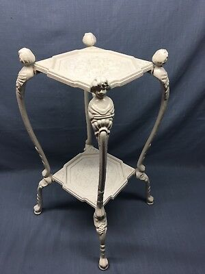 VTG ORNATE Cast Iron 2 TIER PLANT STAND SIDE TABLE Art Nouveau Art Deco