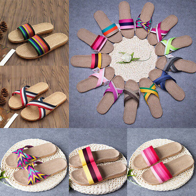 Women Men Anti-slip Linen Indoor & Outdoor  Summer Open Toe Flat Shoes Slippers
