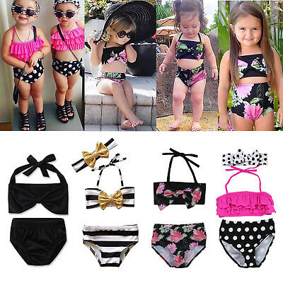 Toddler Baby Girls Kids Swimsuit Bathing Tankini Bikini Set Swimwear Beachwear