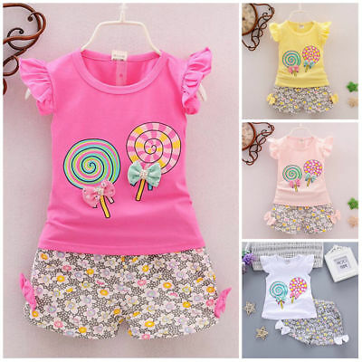 2PCS Toddler Kids Baby Girls Outfits Lolly T-shirt Tops Short Pants Clothes Set