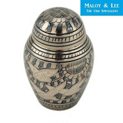 Going Home Silver Keepsake Cremation Memorial Cinerary Ashes Brass Urn Dome Lid