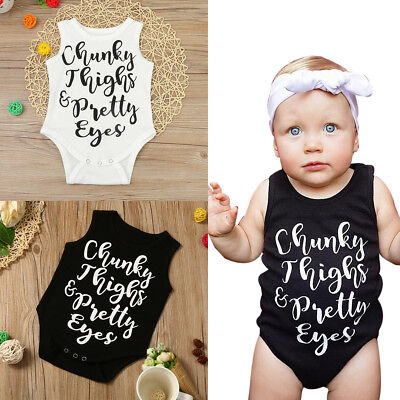 Cute Newborn Baby Girls Boys Sleeveless Letter Romper Jumpsuit Outfits Clothes