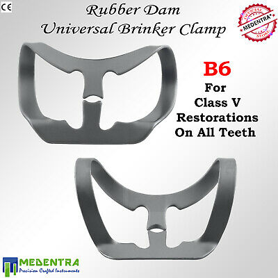 MEDENTRA® Brinker Clamp # B6 Universal Rubber Dam Teeth Lower Molars Clamps New