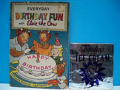 VINTAGE.BORDEN'S COLLECTIBLES: ELSIE THE COW FUN-BOOK & ICE CREAM BAG - 1950's