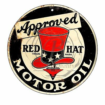Vintage Design Sign Metal Decor Gas and Oil Sign - Approved Red Hat Motor Oil