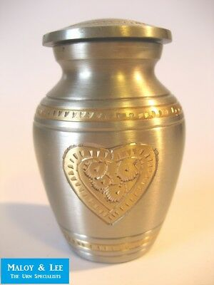 A Heart Of Gold Pewter Keepsake Cinerary Cremation Memorial Ashes Metal Urn