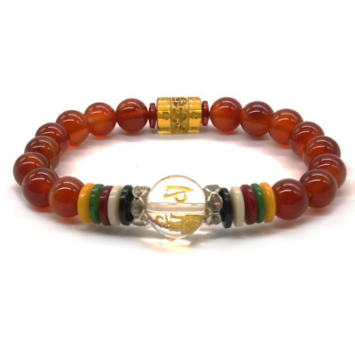 Bracelet en Agate Rouge Yoga Tibétain Pray Mala Beads Pierre Naturelle Bracelet