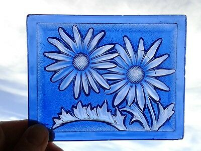 Vintage Addison Pressed Glass Window Pane Tile - Antique Stained Glass Panel