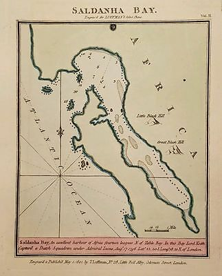 Antique Map SALDANHA BAY South Africa Hand Colored Luffman Select Plans 1801