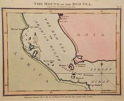 Antique Map THE MOUTH OF THE RED SEA Yemen Gulf  Arabia Luffman 1801