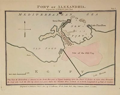 Antique Map PORT OF ALEXANDRIA Egypt Engraved Hand Colored John Luffman 1801