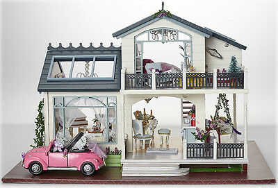 DIY Wooden Doll House Villa Miniatures LED Furniture Kit Light With Cover Gift