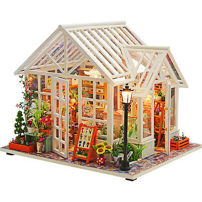 DIY Miniatures Doll House Wooden LED Light Children Creative Toy Xmas gift