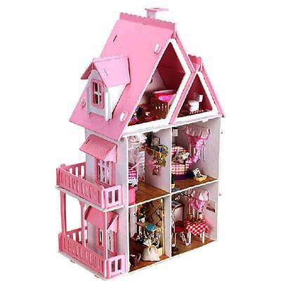 Wooden Kids Doll House With Furniture Dream House Playset  NEW Pink MDF