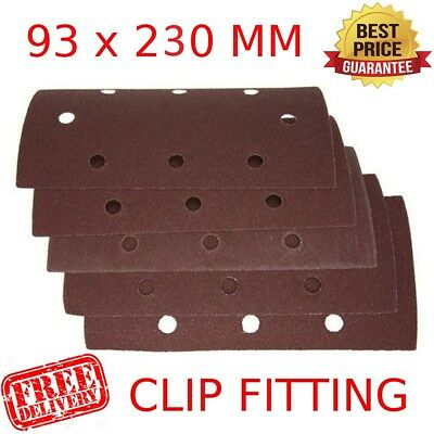 SANDING SHEETS 1/3 93x230MM CLIP FITTING STRIP 36 - 240 GRIT Sander Sandpaper HQ