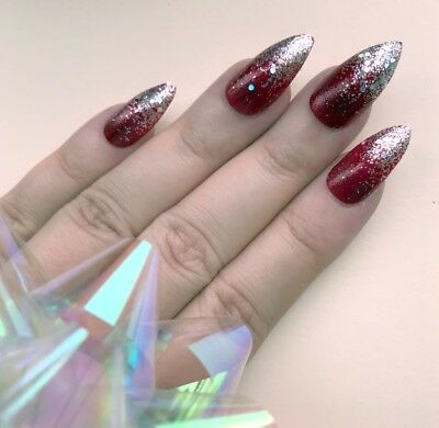 Hand Painted False Nails Stiletto Or ANY Red Glitter Christmas Silver Party Xmas