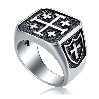 Men's Vintage Stainless Steel Crusader Jerusalem Cross Knight Templar Ring 7-15