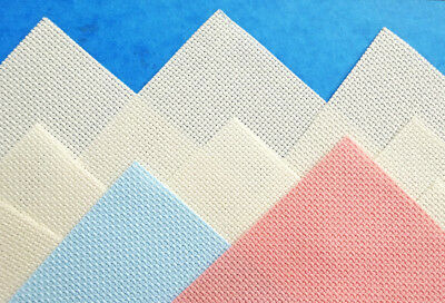 "10 pieces 14 count Aida cross stitch fabric mixed colours 4½"" x 4½""/ 11.5 cm (T"