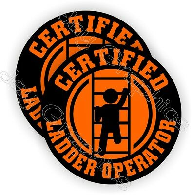 2 Funny Ladder Operator Hard Hat Stickers  Safety Helmet Decals Labels Laborer