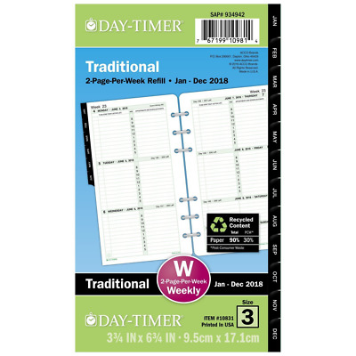 """Day-Timer Refill 2018, Two Page Per Week, January 2018 - December 2018, 3-3/4"""" x"""