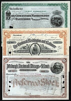 1883-1891 USA: Railroad Companies with Train Vignettes (Lot of 3)