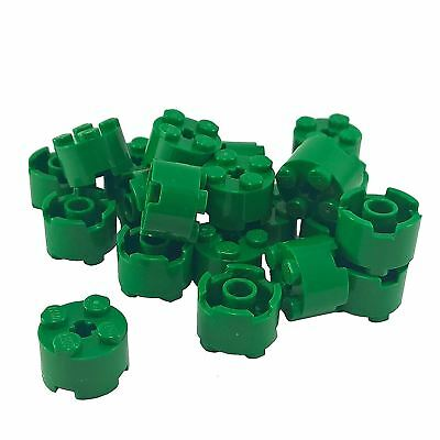 pack of 6 Lego Round Brick 2x2 with Axle Hole 6143 in White