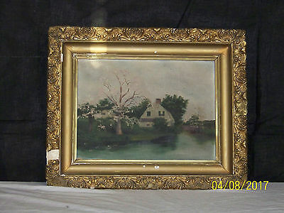 Antique c19th Century Original Oil On Canvas Lake Side House Ornate Gilded Frame
