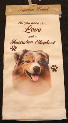 Australian Shepherd Dog Breed Cotton Kitchen Dish Towel