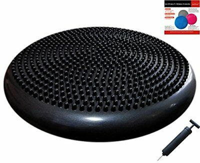 Air Stability Wobble Cushion with Pump Black 35cm 14in Diameter Balance Disc
