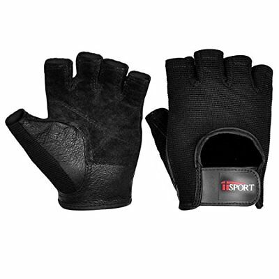 Mens Leather Weight Lifting Gloves for Cross Training Gym Workout Black PAIR S