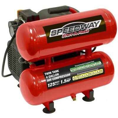 1.5 HP 4 Gallon Twin Tank Stack Air Compressor Tires Roofing Garage Nailer Oil