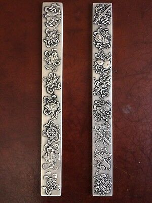 Original Old Chinese Scholars Silver Scroll Weights Set Of Two With Marks