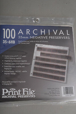 Print File Archival 35mm Negative Preservers 35-6HB (100 pack)