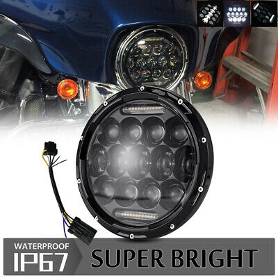 "DOT 7"" inch Motorcycle Headlight DRL LED Round Light For Harley Cafe Racer"