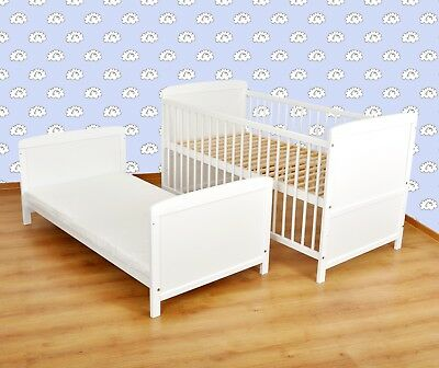 Wooden white Baby Cot Bed 140 x 70 cm ✔ Converts to Junior Bed - Real Bargain
