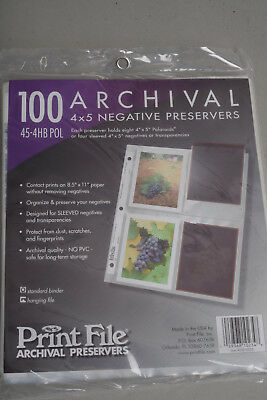 Print File Archival 4x5 Negative Preservers 45-4HB POL (100 pages)