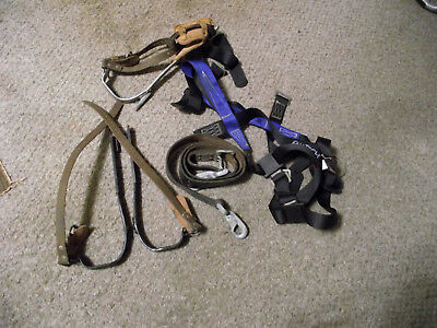 Pole/tree climbing gaffs spikes belts and harness misc. Good condition.