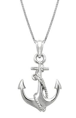 NEW Sterling Silver Ship Anchor and Rope Necklace Pendant with 18 Box Chain