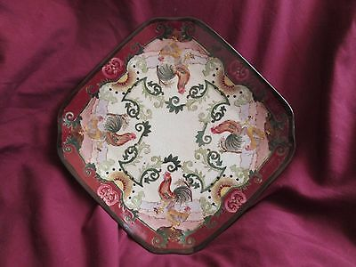 Antique Hand Painted Made in China Chinese 8 Sided Rooster and Hen Plater/Plate