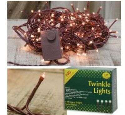 140 ct White Teeny Small Christmas Twinkle Electric Brown Cord Primitive Decor