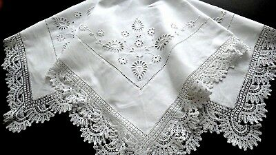 """Vntg. Embroidery Anglaise & Lace Linen Teacloth Tablecloth 42"""" English Gorgeous!"""