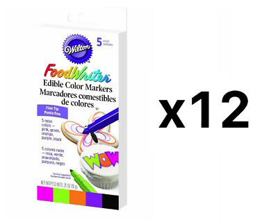 Wilton Fine Tip Food Writer Edible Color Markers Fondant Decorating (12-Pack)