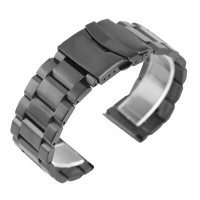 Black Wrist Watch Band 18/20/22/24mm Solid Stainless Steel Strap Fold Clasp