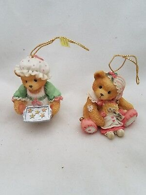 2 Cherished Teddies Girl Elf with Doll  Girl with Cookies Christmas Ornaments